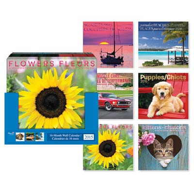 View WALL CALENDAR 16 MONTH 2015 BILIGUAL ENGLISH/FRENCH ASSORTED DESIGNS