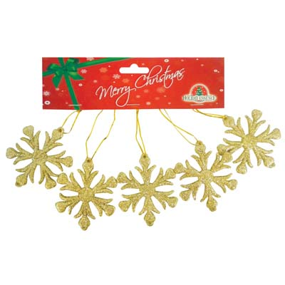 View CHRISTMAS ORNAMENT SNOWFLAKE SHAPE 5 PK 2.5 INCH ASSORTED RED GREEN AND GOLD