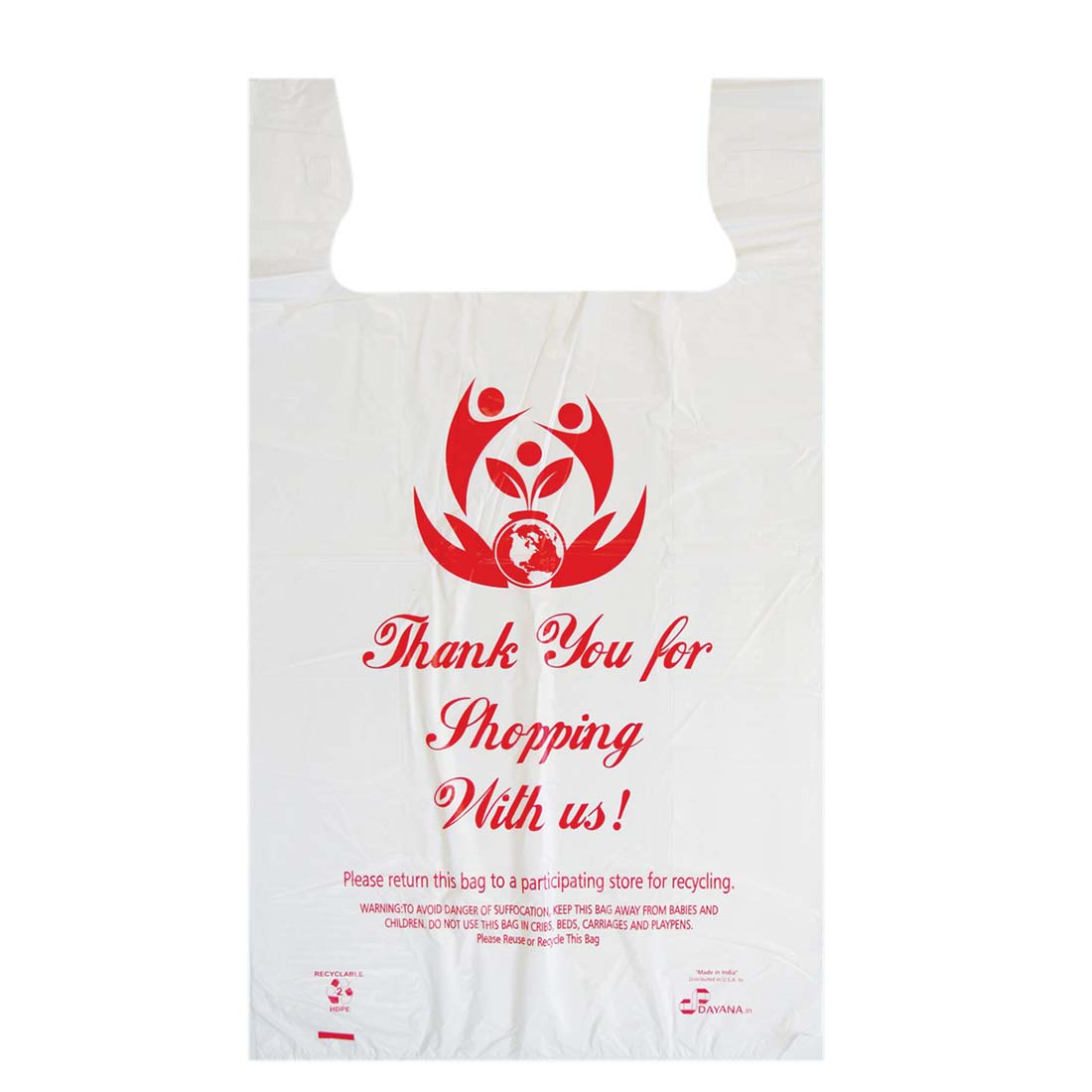View SHOPPING BAG 250 COUNT 15 X 8 X 27 INCH LARGE THANK YOU PRINT WHITE