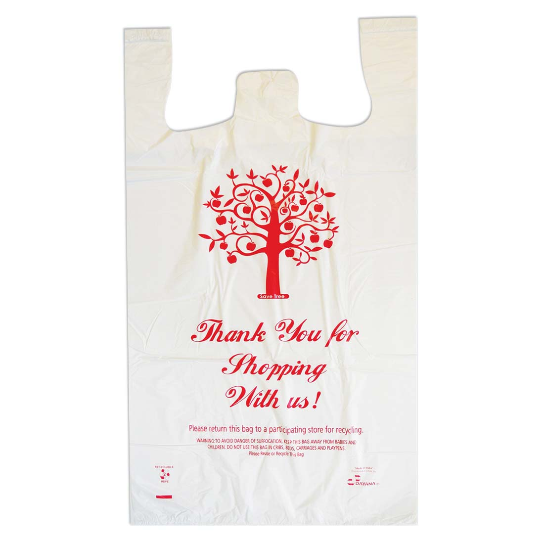 View SHOPPING BAG 250 COUNT 18 X 8 X 32 INCH JUMBO THANK YOU PRINT WHITE