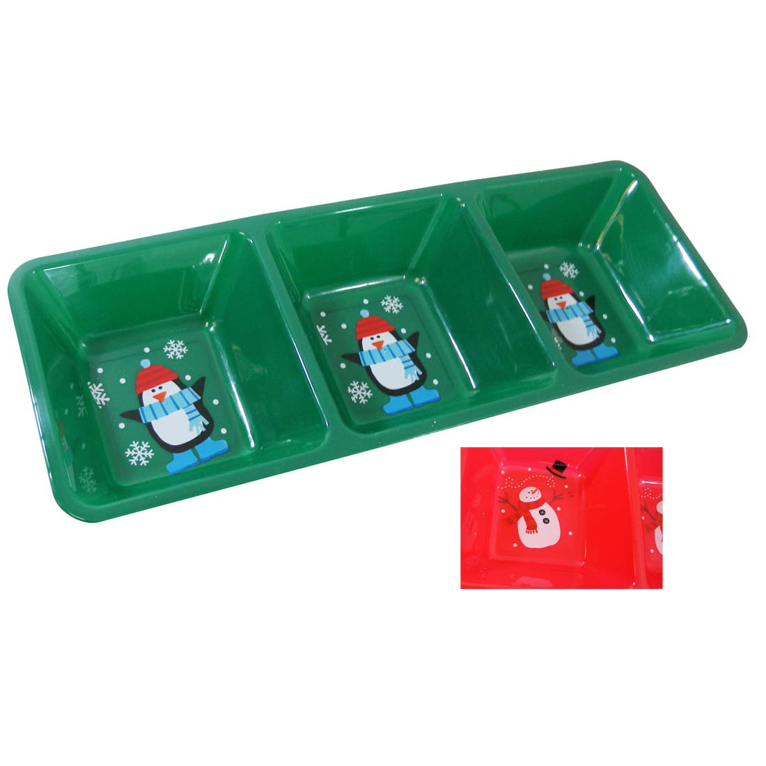 View CHRISTMAS TRAY 3 COMPARTMENT 16 X 6 INCH ASTD COLORS