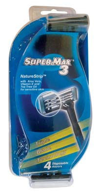 View SUPERMAX 3 MEN'S RAZOR 4 PACK TRIPLE BLADE WITH COMFORT GRIP AND NATURE STRIP