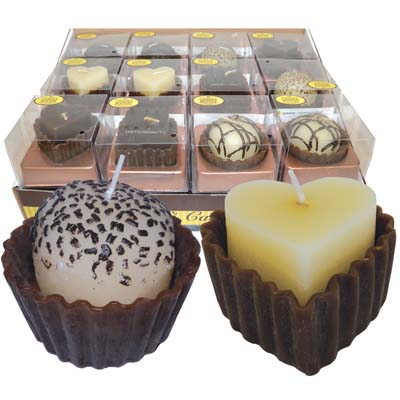 View SCENTED CANDLE IN DISPLAY FANCY CHOCOLATE CAKES 6 ASSORTED