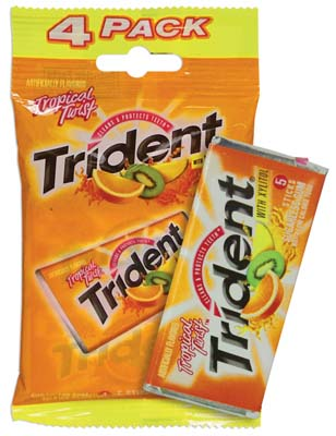 View TRIDENT GUM 4 PACK TROPICAL TWIST