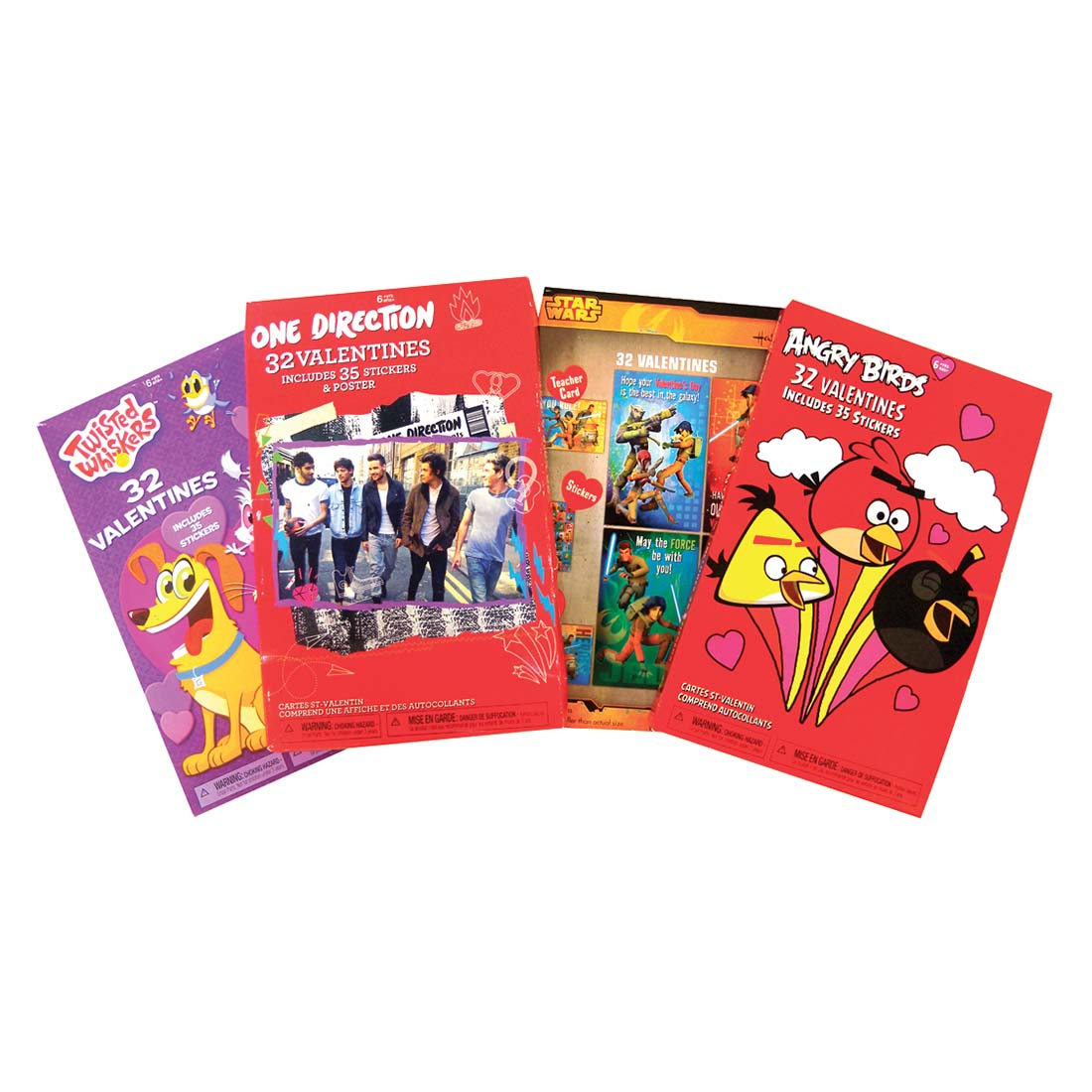 View VALENTINE CARDS 32 COUNT ONE DIRECTION/TWISTED WHISKERS/STAR WARS/ANGRY BIRDS