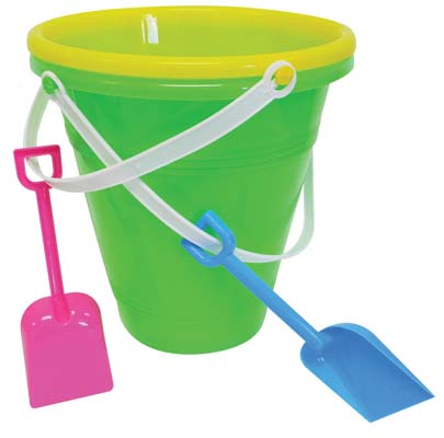 View JUMBO BEACH PAIL WITH SHOVEL 9 INCH ASSORTED COLORS