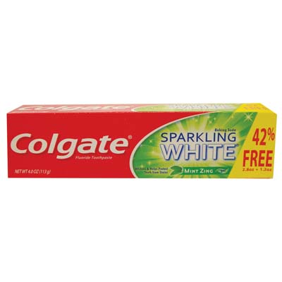 View COLGATE TOOTHPASTE 4 OZ SPARKLING WHITE MINT ZING GEL