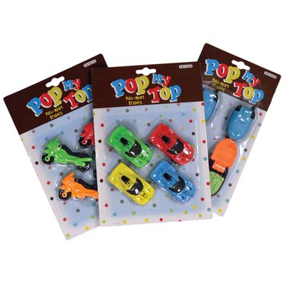 View 4 PACK ERASERS ASSORTED STYLES: CARS MOTORCYCLES AND CELL PHONES
