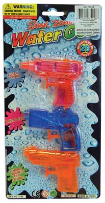 View WATER GUN 3.5 INCH 3 PACK ASSORTED COLORS PINK/GREEN/ORANGE