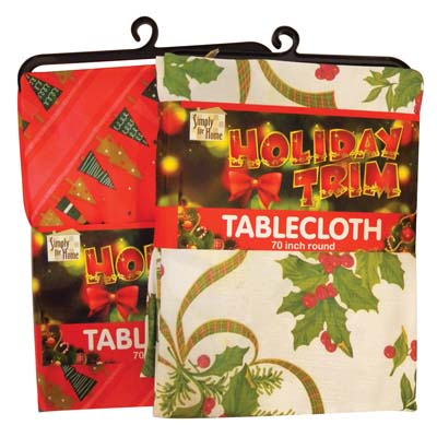 View FESTIVAL TABLE CLOTH POLYESTER ROUND 70 INCHES ASSORTED DESIGNS