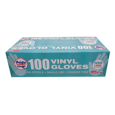 View VINYL GLOVES 100 COUNT LARGE POWDER FREE BOXED