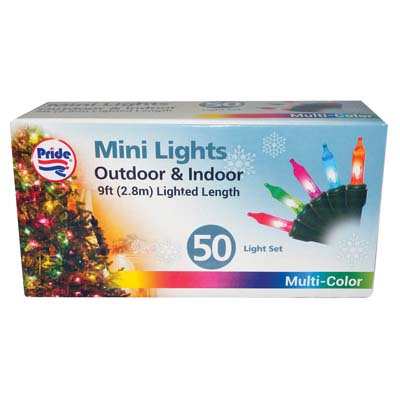 View CHRISTMAS LIGHT 50 COUNT 9 FEET MULTI COLORS UL APPROVED