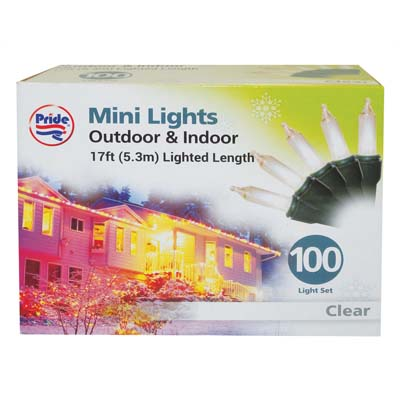 View CHRISTMAS LIGHT 100 COUNT 17 FEET CLEAR UL APPROVED