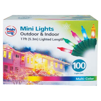 View CHRISTMAS LIGHT 100 CT 17 FEET MULTI COLORS UL APPROVED