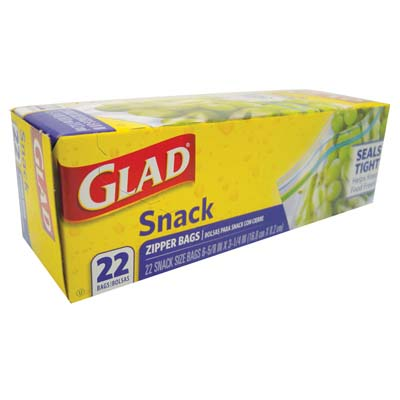 View GLAD SNACK ZIPPER BAGS 22 CT 7 X 3 INCHES