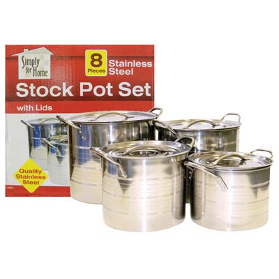View SIMPLY FOR HOME STOCK POT SET WITH LIDS E 8/12 -16/20 QUART STAINLESS STEEL