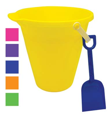 View PRIDE BEACH PAIL 9 INCH WITH SHOVEL & SPOUT ASSORTED COLORS