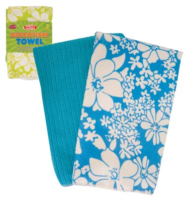 View KITCHEN TOWEL 2 PACK 16 X 19 INCHES MICROFIBER FLORAL DESIGN ASSORTED COLORS