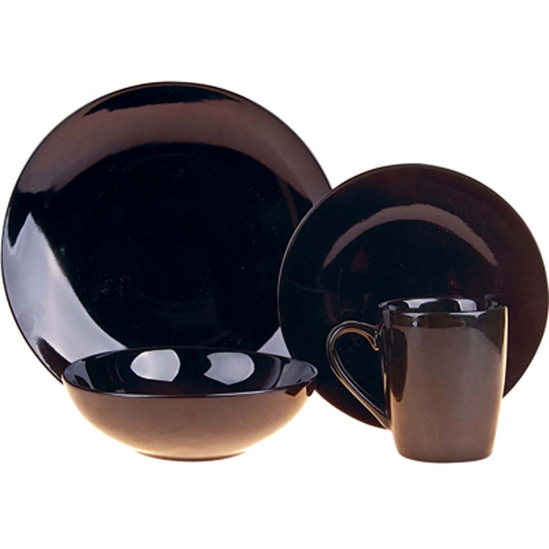View CERAMIC DINNER SET 16 PC INCLUDES 4 PLATES 10.5 INCH/4 PLATES 7.5 INCH/4 BOWLS 6 INCH & 4 MUGS 12 OZ BLACK