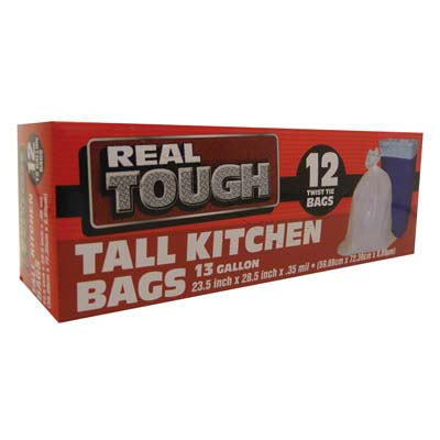 View REAL TOUCH TRASH BAG 13 GALLON 12 COUNT TALL KITCHEN WHITE