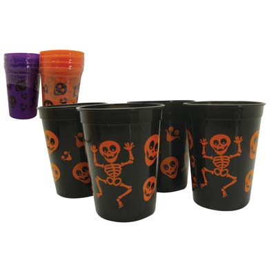 View PLASTIC CUPS 4PK 10 OZ HALLOWEEN DESIGN ASSORTED COLORS