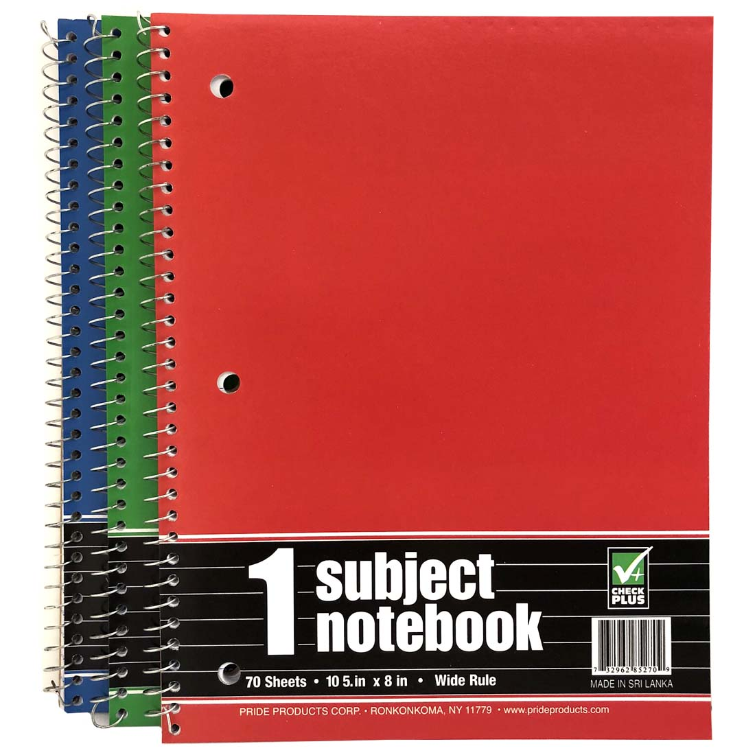 View CHECK PLUS 1 SUBJECT NOTEBOOK 70 SHEETS 8 X 10.5 INCH WIDE RULED ASTD COLORS