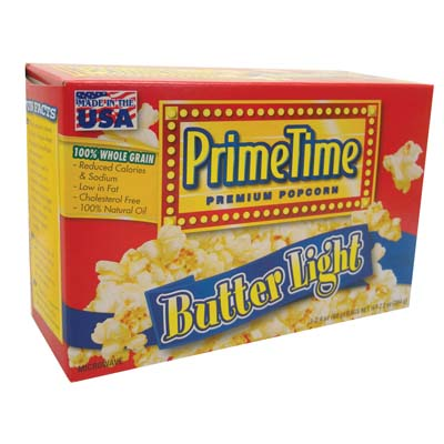 View PRIME TIME MICROWAVE POPCORN 3 PK 2.4 OZ EA. LIGHT BUTTER FLAVOR **MADE IN USA**