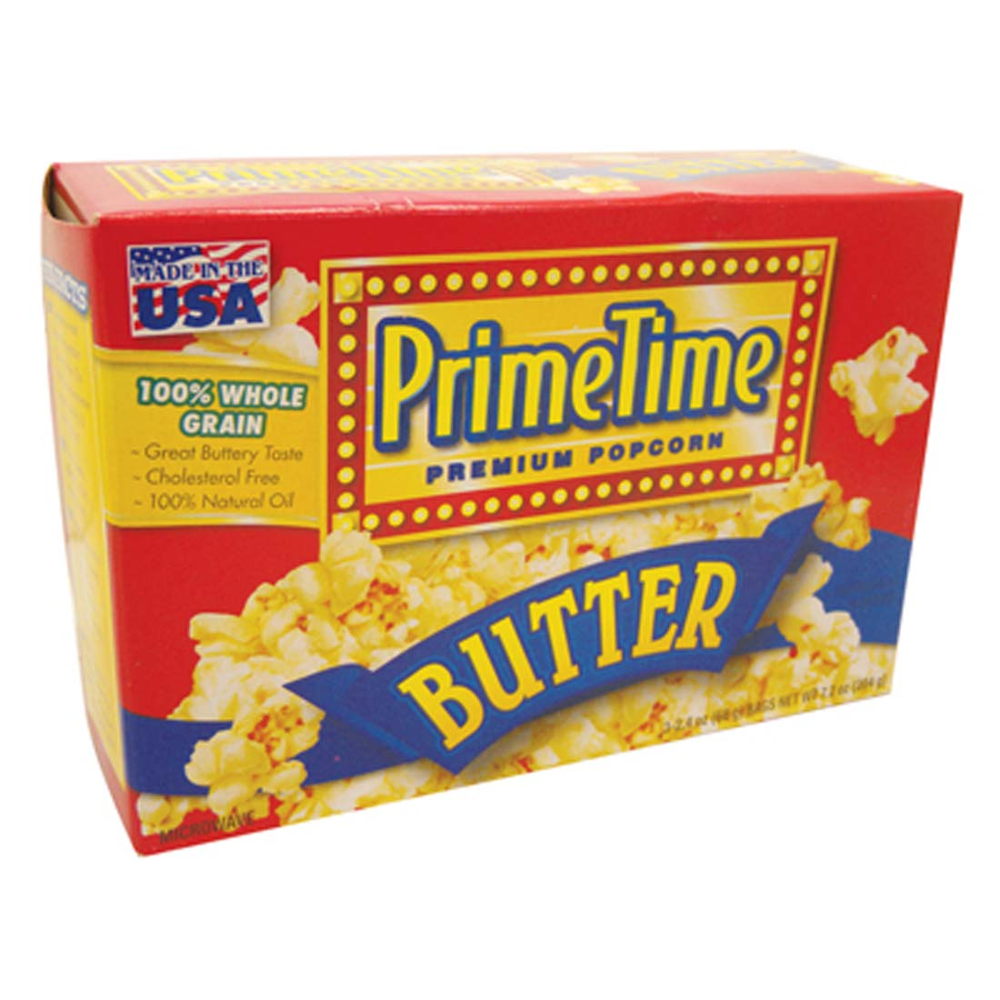 View PRIME TIME MICROWAVE POPCORN 3 PK 2.4 OZ EA. BUTTER FLAVOR **MADE IN USA**