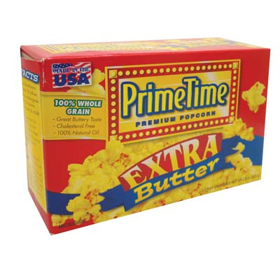 View PRIME TIME MICROWAVE POPCORN 3 PK 2.4 OZ EA. EXTRA BUTTER FLAVOR **MADE IN USA**