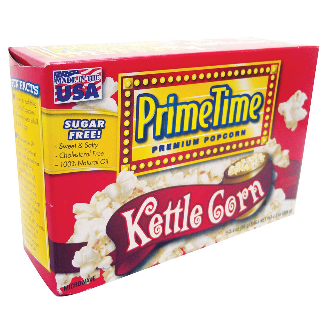 View PRIME TIME MICROWAVE POPCORN 3 PK 2.4 OZ EA. KETTLE CORN FLAVOR **MADE IN USA**