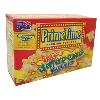 View PRIME TIME MICROWAVE POPCORN 2.4 OZ HOT JALAPENO BUTTER FLAVOR **MADE IN USA**
