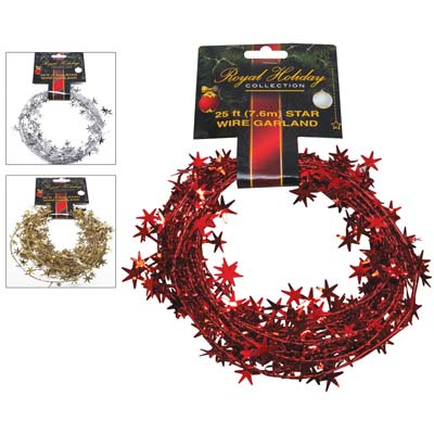 View CHRISTMAS STAR WIRE GARLAND 25 FT 3 ASSORTED COLORS RED SILVER GOLD