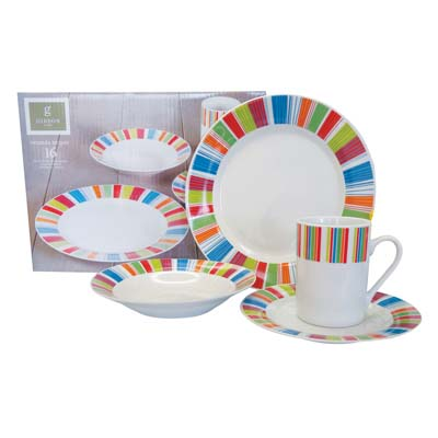 View GIBSON DINNERWARE SET 16 PCS PORCELAIN VERANDA STRIPES-4 DINNER PLATES 10 INCH/DESSERT PLATES 7 INCH/BOWLS 8 INCH/MUGS 12 OZ