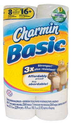 View CHARMIN BASIC TOILET TISSUE 8 ROLLS 264 SHEETS PER ROLL 1PLY