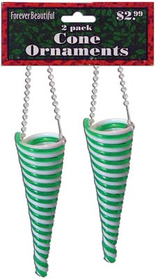 View CHRISTMAS PLASTIC SWIRL CONE ORNAMENT 2 PACK 5 INCH PREPRICED AT $2.99