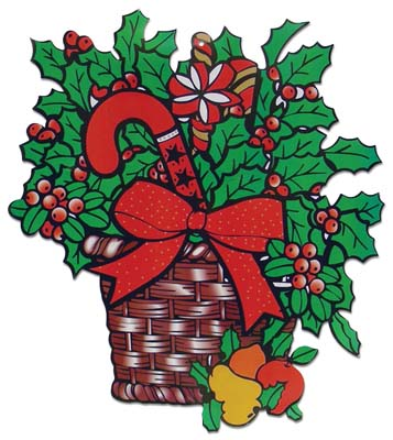 View CHRISTMAS PAPER CUT OUTS HOLLY BASKET DESIGN 21x18 INCH