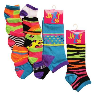 View JAZZY LADIES SOX ASSORTED NEON DESIGNS SIZE 9-11